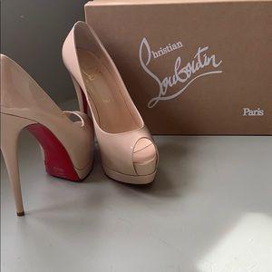 NEW Christian Louboutin Lady Peep Toe Nude Heels